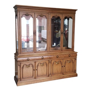 Vintage 1970s Fruitwood & Elm Thomasville Provincial Dining Room Breakfront China Cabinet For Sale