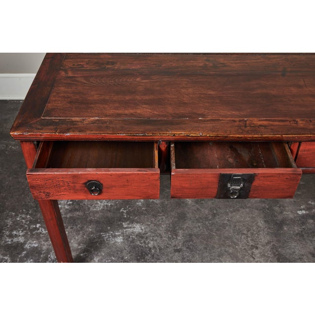 19th C. Cinnabar Lacquer Console For Sale In Los Angeles - Image 6 of 9