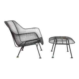 Mid-Century Woodard Sculptura Garden Lounge Chair & Ottoman - A Pair