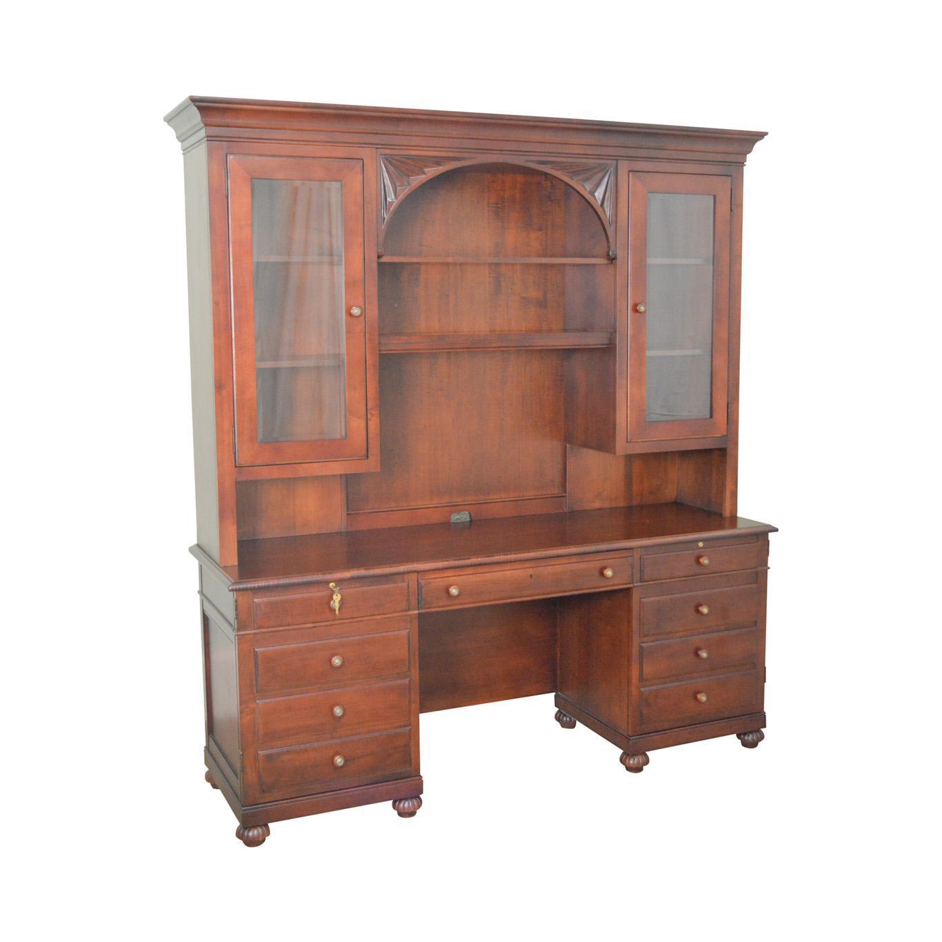Ethan Allen British Classics Office Desk Credenza W/ Hutch Top