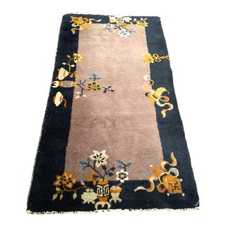 """Art Deco Chinese Floral Design Wool Rug - 2' X 3' 10"""" For Sale"""