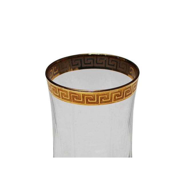 Mid-Century Modern Gold Greek Key Tumblers - Set of 4 For Sale - Image 3 of 4