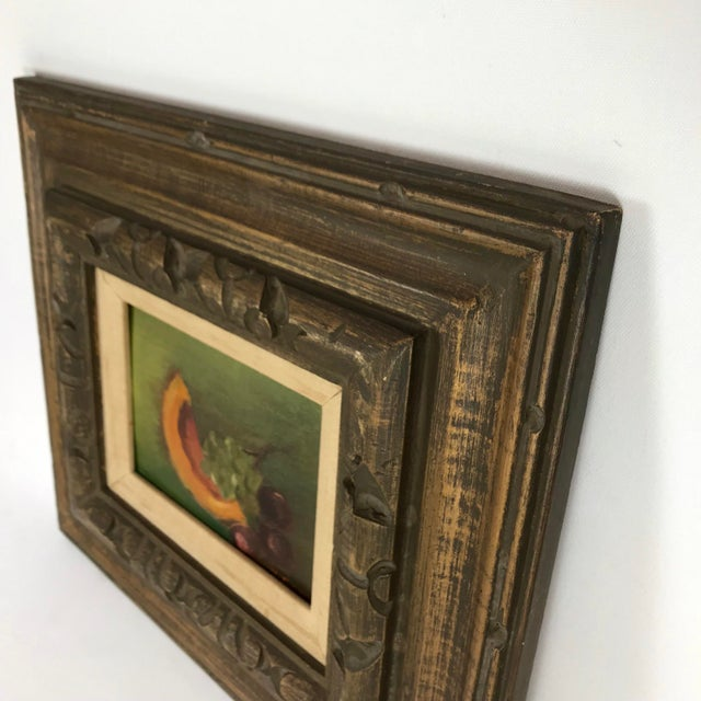 Mid 20th Century Vintage Mid-Century Framed Still Life with Fruit Painting For Sale - Image 5 of 10