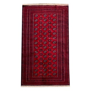 Turkoman Style Tribal Hand-Knotted Red Rug - 3′6″ × 6′ For Sale