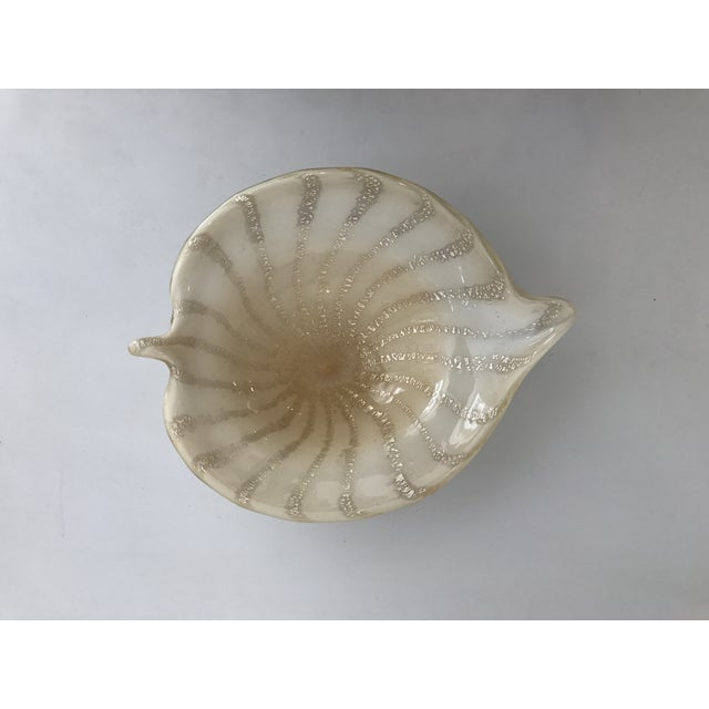 """Gold and ivory Murano glass leaf. Shaped like a leaf. In a beautiful decorative gold & ivory aprox 6""""x6""""x6"""""""