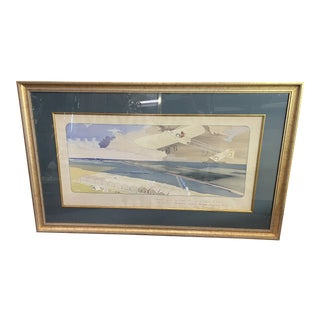 Ernest & Marguerite Gamy Montaut Le Grand Prix Flying Club Watercolor Print 1912 For Sale