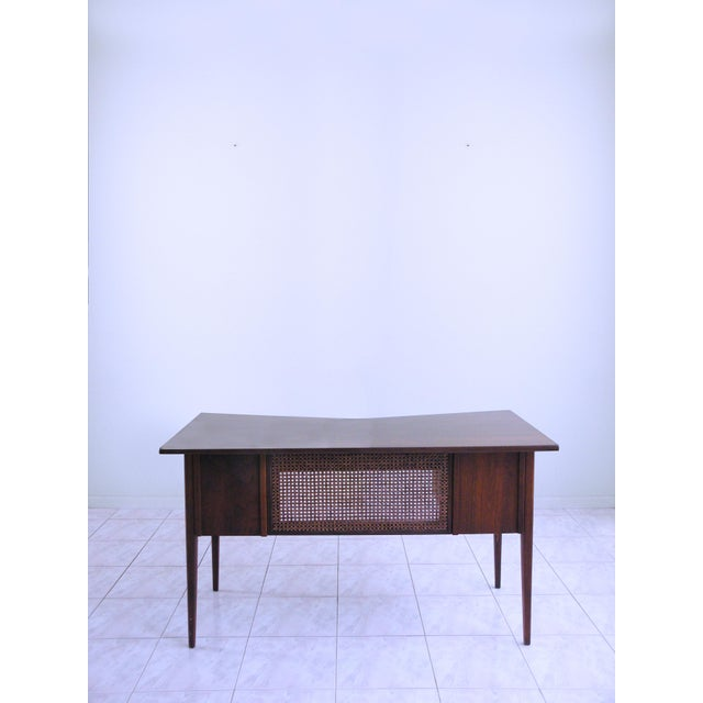 For your consideration, a striking, Teak, Danish Modern, Space Age Style Writing Desk, by Edward Wormley for Dunbar. This...