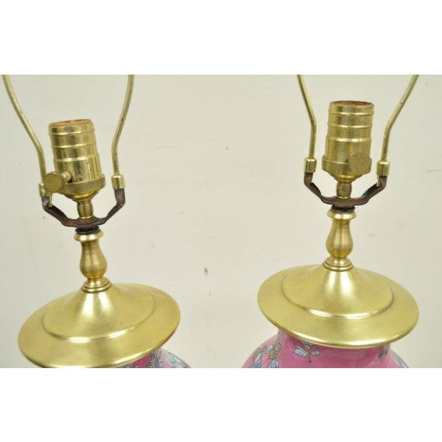 Pair of Vintage Oriental Heyward House Brass Ceramic Pink Floral Table Lamps For Sale - Image 10 of 11