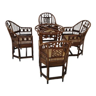 Brighton Pavillion Chippendale Regency Bamboo Table Base & Chairs - Set of 5