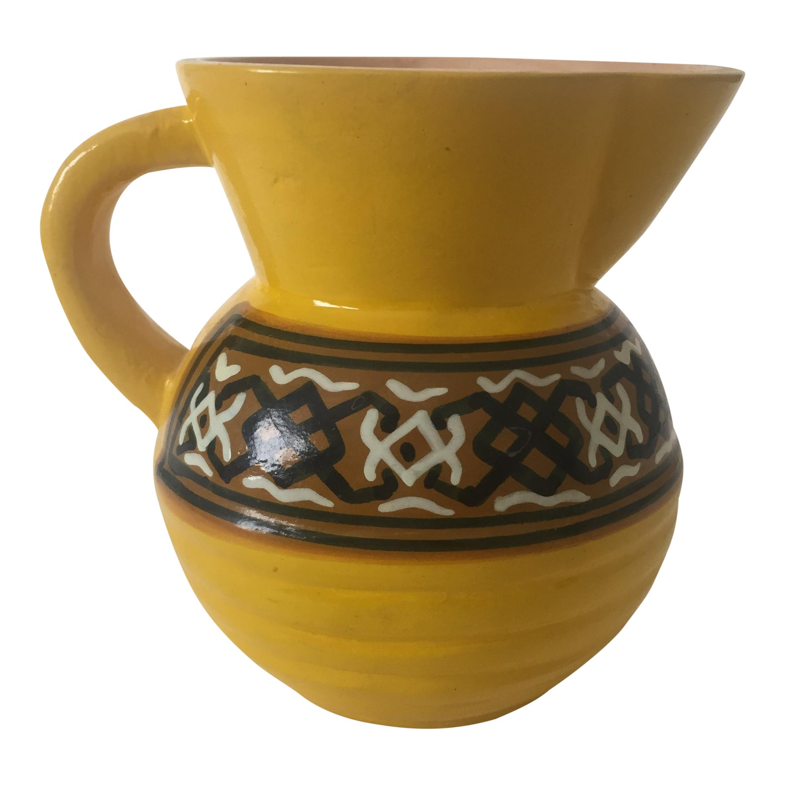 Vintage Kenya Pottery Yellow Pitcher Chairish