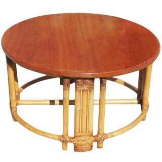 Restored Round Rattan Coffee Table With Mahogany Top and Fancy Wrapping For Sale