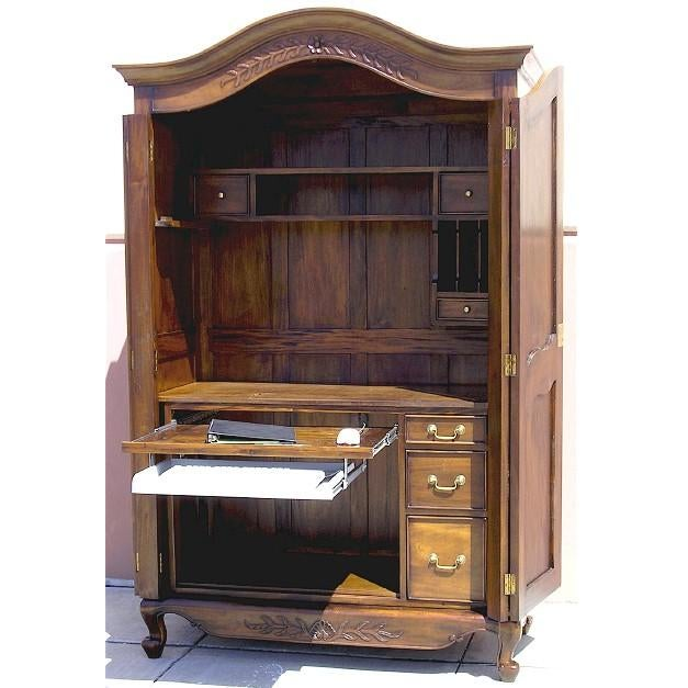 Victorian Antique Style Armoire With Hidden Desk - Image 4 of 10