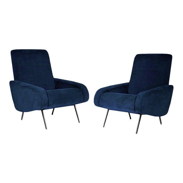 1950's Italian Armchairs Reupholstered in Slate-Blue Velvet - a Pair For Sale