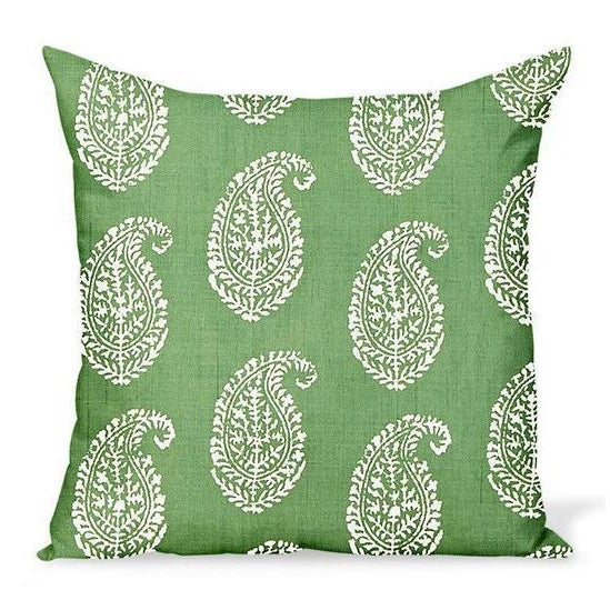 Coastal Peter Dunham Kashmir Paisley Outdoor Pillow Cover, Green For Sale - Image 3 of 3