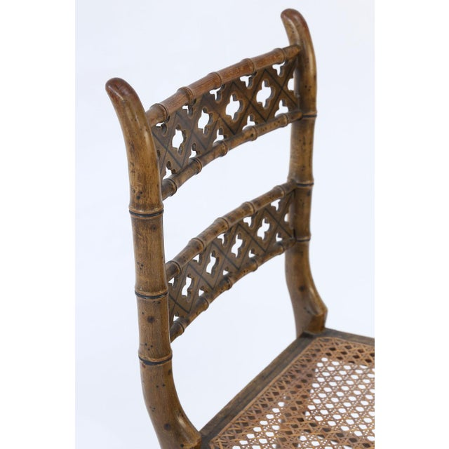 Pair of Regency Faux Bamboo Chairs For Sale In Houston - Image 6 of 9