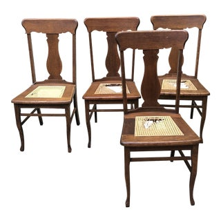 20th Century Arts and Crafts Golden Oak Pressed Cane Chairs - Set of 4 For Sale