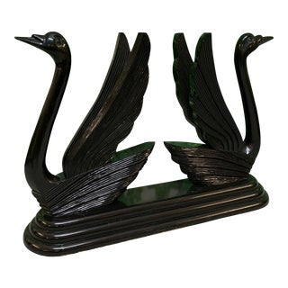 Sculptural Black Swan Statue Console Table For Sale