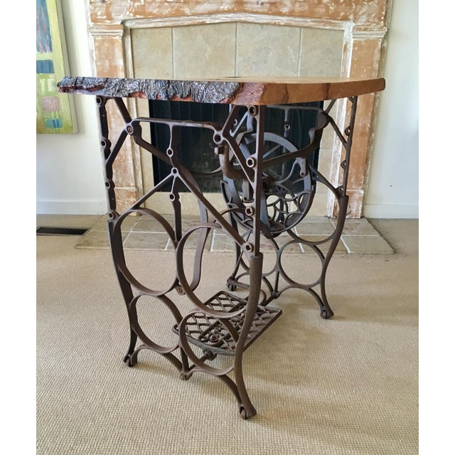 Live Edge Console with Sewing Machine Base For Sale In New York - Image 6 of 10