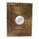 Image of Italian Rectangular Giltwood Sunburst Mirror For Sale