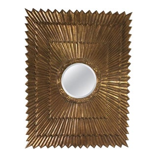 Italian Rectangular Giltwood Sunburst Mirror For Sale