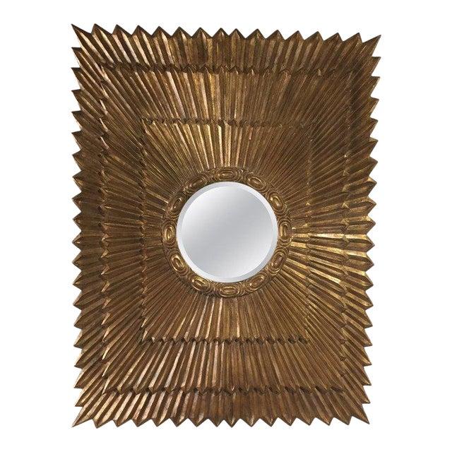 Italian Rectangular Giltwood Sunburst Mirror For Sale