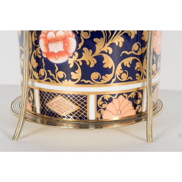 Antique English Biscuit Holder in Porcelain and Silver Plate by Spode For Sale - Image 10 of 11
