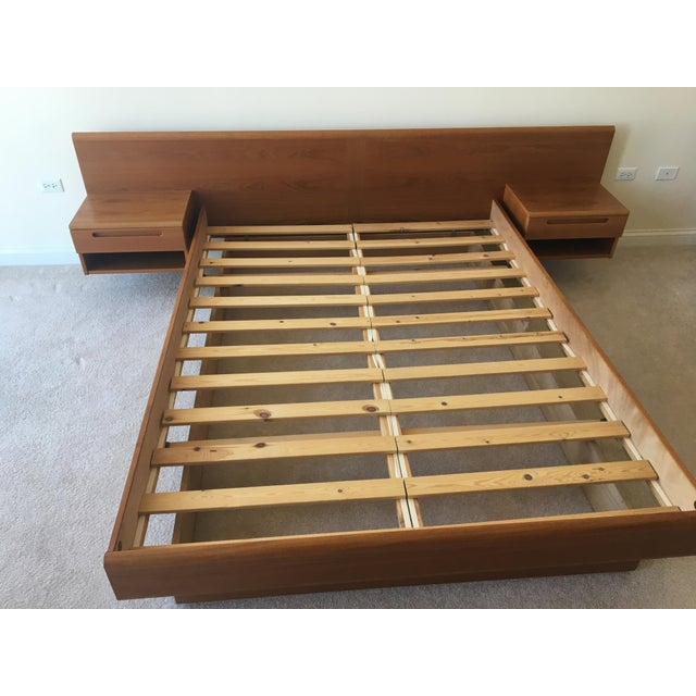 Danish Modern Teak Queen Platform Bed With Nightstands - Image 2 of 7