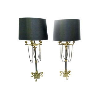 19th Century Antique French Empire Brass Candelabra Lamps - a Pair For Sale