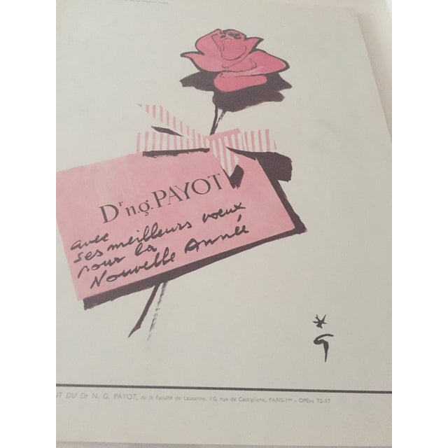 Vintage French perfume ad circa 1955, for Payot (Cosmetics) Rose perfume. Featuring ad illustration by Rene Gruau. This is...