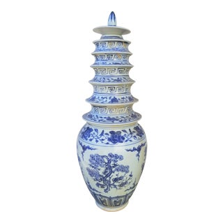 Blue and White Pagoda Porcelain Vase For Sale