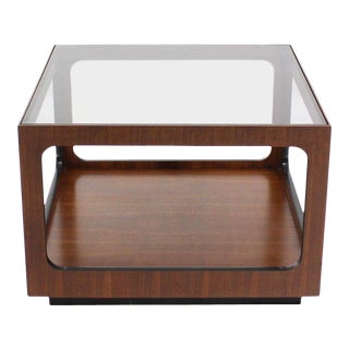 Square Walnut Base and Glass-Top Coffee or Side Table For Sale