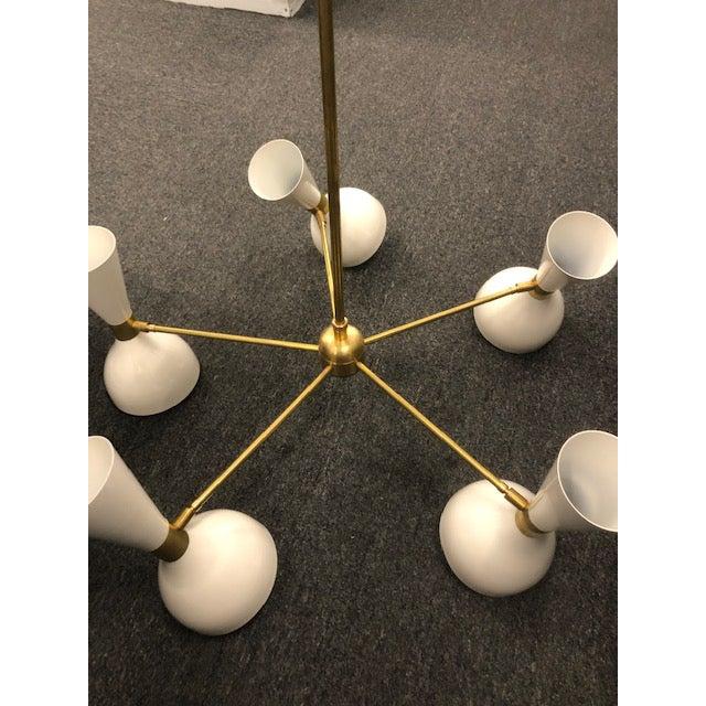 """Blueprint Lighting Blueprint Lighting White Enamel & Brass """"Ludo"""" Round Chandelier For Sale - Image 4 of 5"""