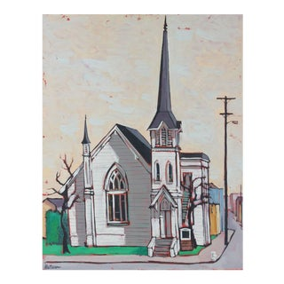 "Rip Matteson ""Berkeley"" Cityscape With Church Oil Painting on Canvas, 1964 For Sale"