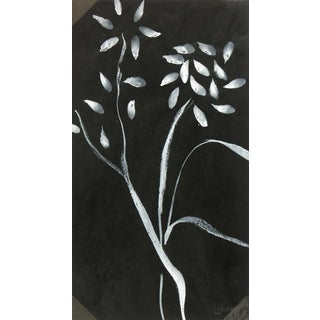 Circa 1960 Black & White Flowers, French Painting - Louisette Poirier For Sale