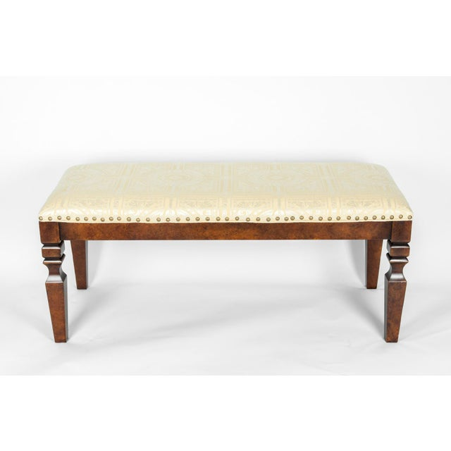 Mahogany wood framed bench. The bench is in excellent condition. The upholstery is immaculate. The bench measure about 48...