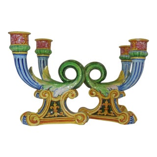 19th Century Italian Faience Candelabras - A Pair For Sale