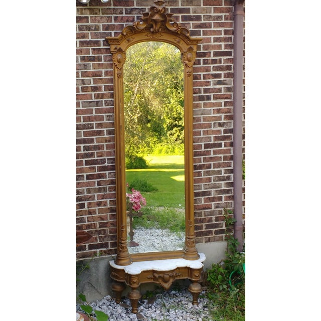 "This is a fantastic 19th century Victorian pier mirror with original marbletop base stand. The mirror itself is 95"" high..."