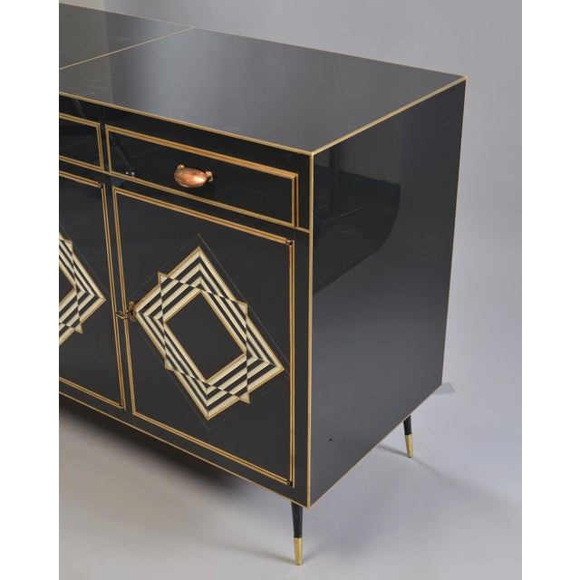 Gold Op Art Murano Black and White Glass Clad Chest of Drawers With Brass Hardware For Sale - Image 8 of 13