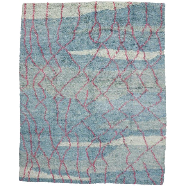 Indian Blue and Pink Area Rug - 10′8″ × 13′4″ For Sale