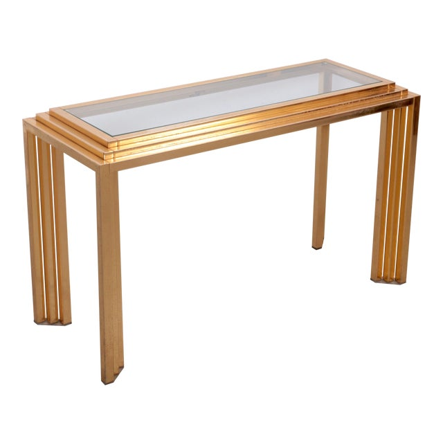 Brass Skyscraper Console or Side Table in the Manner of Willy Rizzo For Sale