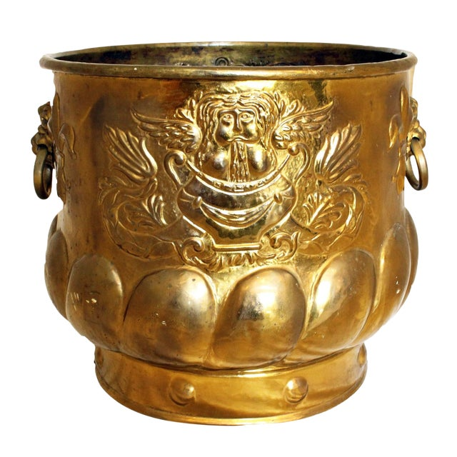 Late 19th Century Antique Brass Jardinere For Sale