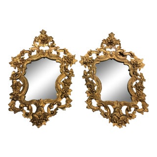 Antique Italian Gilded Mirrors - a Pair For Sale
