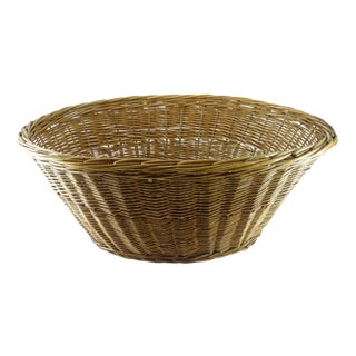 Vintage Rustic Wicker Laundry Basket For Sale