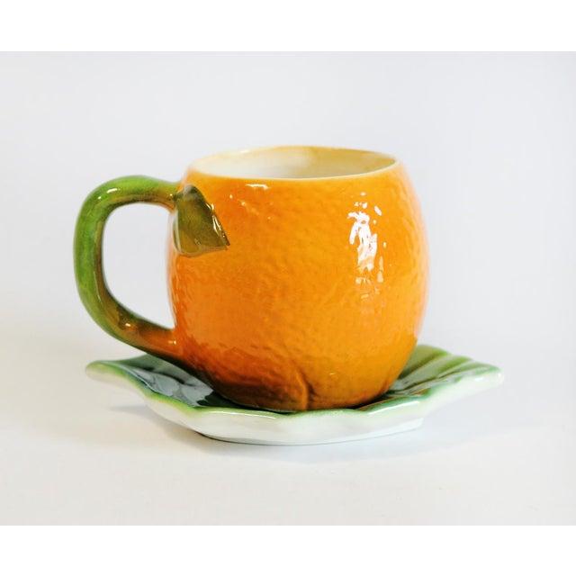 Majolica Orange Cup and Leaf Saucer - Image 2 of 6