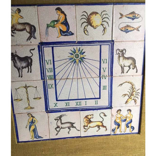 Stunning Mid Century Modern Framed & Matted Antique Hand Painted Ceramic Tiles, featuring the astrological /...