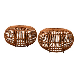 1950s Boho Chic Franco Albini Sika Pouf Ottomans - a Pair For Sale