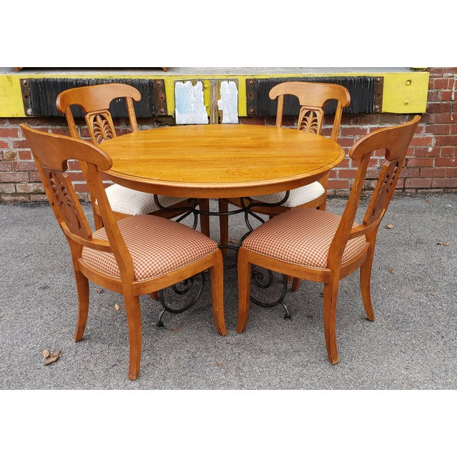 Ethan Allen Legacy Collection Maple Table W/ Wrought Iron Base & 4 Side Chairs C1990s For Sale - Image 13 of 13