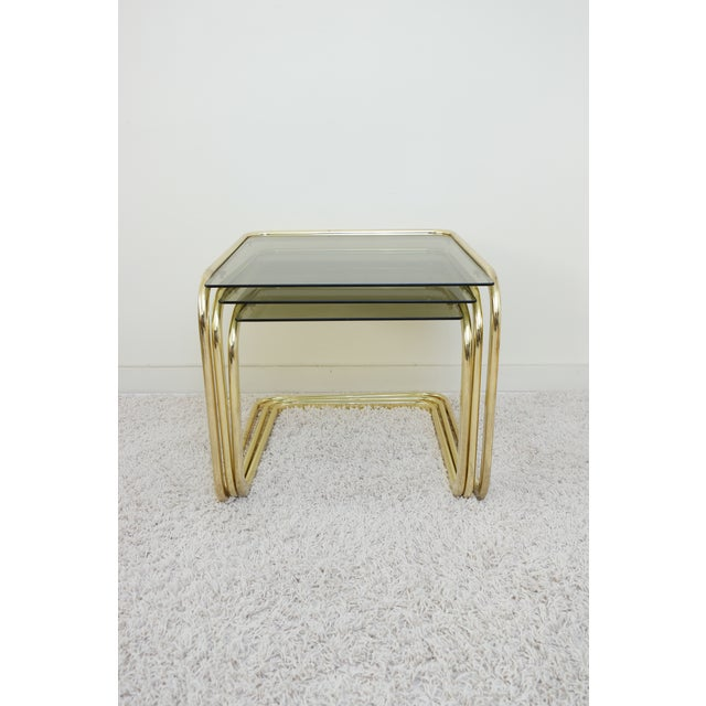 1970s 1970s Mid Century Modern Gold Steel Nesting Tables - Set of 3 For Sale - Image 5 of 9