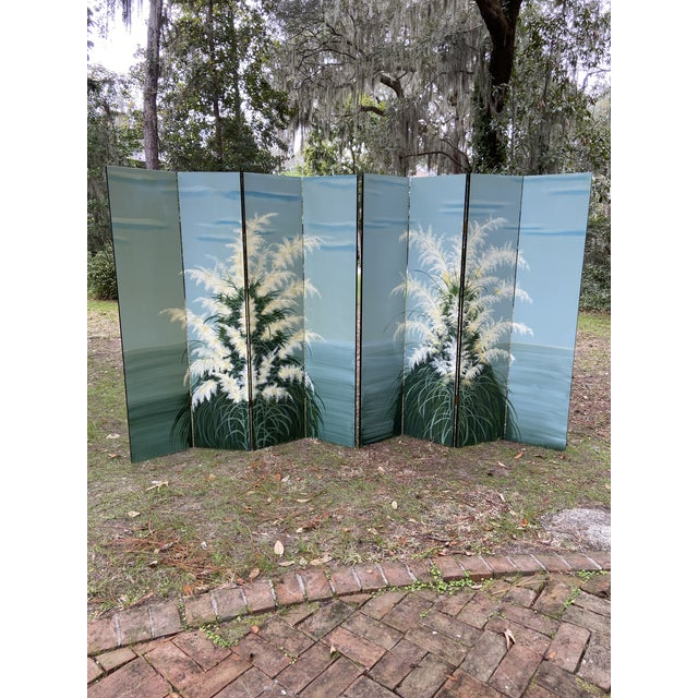 Pair Late 20th C. Hand-Painted Screens - Coastal Landscape For Sale - Image 11 of 13
