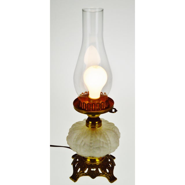 Vintage Electrified Frosted Glass Oil Lamp Condition consistent with age and history. Patina has been maintained; buyer...